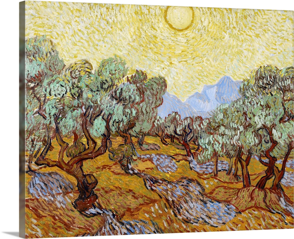 Large Solid-Faced Canvas Print Wall Art Print 30 x 24 entitled Olive Trees, 1889 Solid-Faced Canvas Print entitled Olive Trees, 1889.  Classical painting of an olive grove with trees in rows and the blazing sun creating shadows on the ground.  Multiple sizes available.  Primary colors within this image include Brown, Dark Yellow, Black, White.  Made in USA.  All products come with a 365 day workmanship guarantee.  Archival-quality UV-resistant inks.  Featuring a proprietary design, our canvases produce the tightest corners without any bubbles, ripples, or bumps and will not warp or sag over time.  Archival inks prevent fading and preserve as much fine detail as possible with no over-saturation or color shifting.