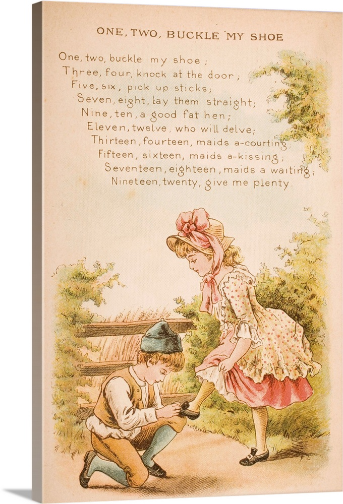 Large Solid-Faced Canvas Print Wall Art Print 20 x 30 entitled One, Two, Buckle my Shoe, from Old Mother Goose's Rhymes an... Solid-Faced Canvas Print entitled One, Two, Buckle my Shoe, from Old Mother Gooses Rhymes and Tales.  Nursery rhyme and illustration of One Two Buckle My Shoe from Old Mother Gooses Rhymes and Tales. Illustrated by Constance Haslewood. Published by Frederick Warne .  Multiple sizes available.  Primary colors within this image include Brown, Pink, Black, Silver.  Made in USA.  Satisfaction guaranteed.  Archival-quality UV-resistant inks.  Featuring a proprietary design, our canvases produce the tightest corners without any bubbles, ripples, or bumps and will not warp or sag over time.  Canvas depth is 1.25 and includes a finished backing with pre-installed hanging hardware.