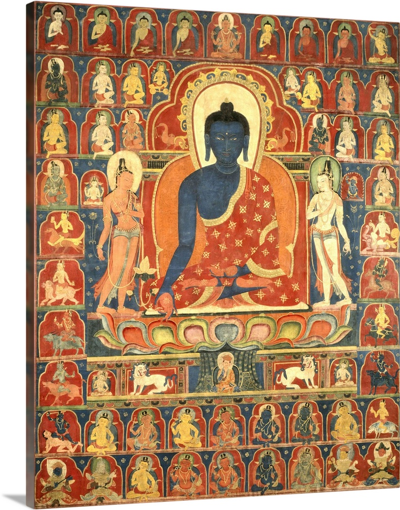 Large Solid-Faced Canvas Print Wall Art Print 24 x 30 entitled Painted Banner with the Medicine Buddha, 14th century Solid-Faced Canvas Print entitled Painted Banner with the Medicine Buddha, 14th century.  Painted Banner, Thangka with the Medicine Buddha, Bhaishajyaguru, 14th century, pigment on cloth.  Multiple sizes available.  Primary colors within this image include Peach, Light Yellow, Black, Gray.  Made in the USA.  Satisfaction guaranteed.  Inks used are latex-based and designed to last.  Canvas is handcrafted and made-to-order in the United States using high quality artist-grade canvas.  Canvas depth is 1.25 and includes a finished backing with pre-installed hanging hardware.