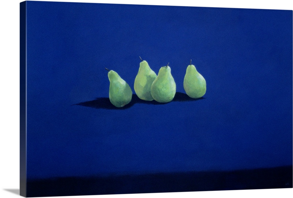 Large Gallery-Wrapped Canvas Wall Art Print 24 x 16 entitled Pears on a Blue Cloth Gallery-Wrapped Canvas entitled Pears on a Blue Cloth.  Multiple sizes available.  Primary colors within this image include Dark Blue, Light Green, Black, Gray.  Made in USA.  All products come with a 365 day workmanship guarantee.  Inks used are latex-based and designed to last.  Canvas is a 65 polyester, 35 cotton base, with two acrylic latex primer basecoats and a semi-gloss inkjet receptive topcoat.  Canvases have a UVB protection built in to protect against fading and moisture and are designed to last for over 100 years.