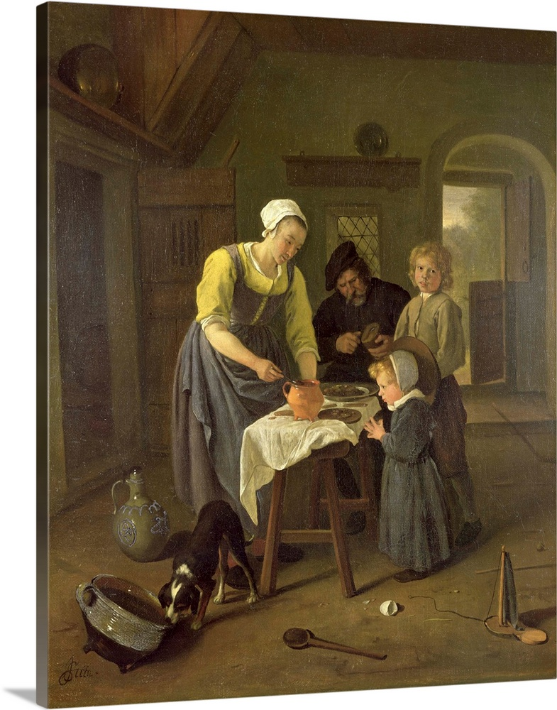 Large Solid-Faced Canvas Print Wall Art Print 24 x 30 entitled Peasant Family at Meal time, c.1665 Solid-Faced Canvas Print entitled Peasant Family at Meal time, c.1665.  Multiple sizes available.  Primary colors within this image include Light Yellow, Black, Dark Forest Green.  Made in USA.  All products come with a 365 day workmanship guarantee.  Archival-quality UV-resistant inks.  Featuring a proprietary design, our canvases produce the tightest corners without any bubbles, ripples, or bumps and will not warp or sag over time.  Canvas is handcrafted and made-to-order in the United States using high quality artist-grade canvas.