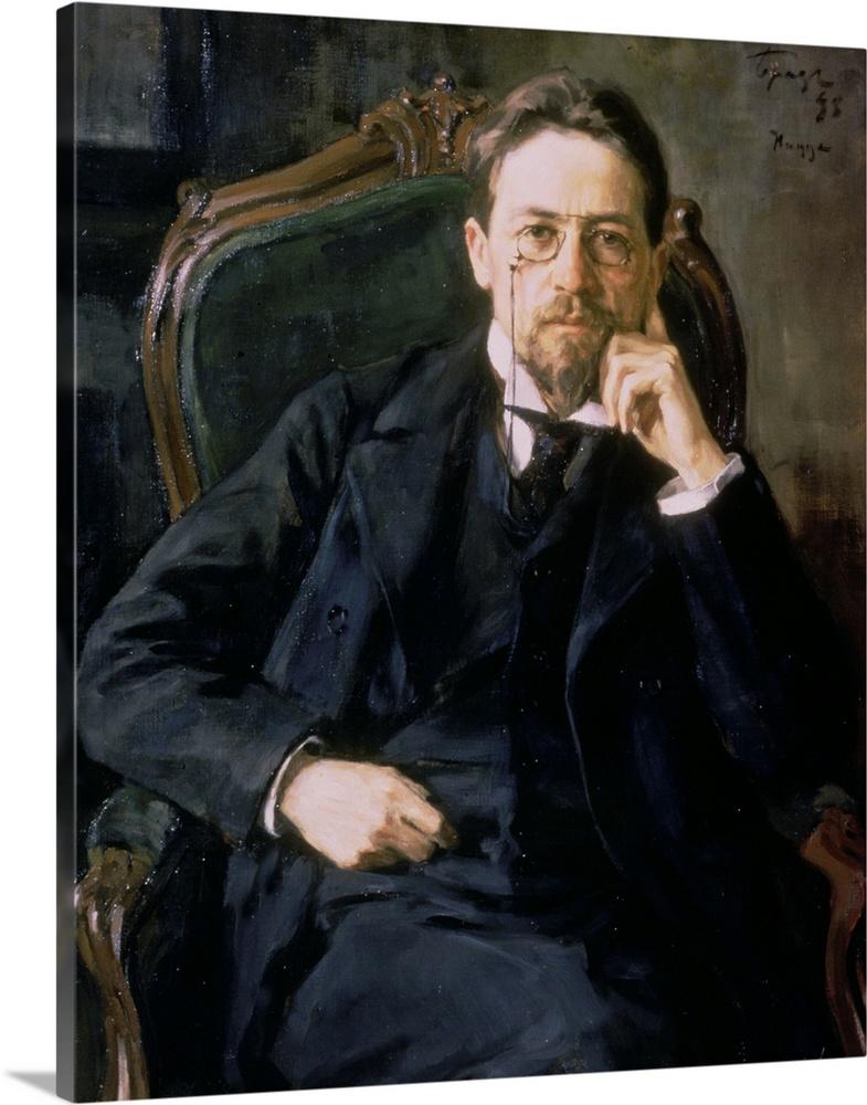 Solid-Faced Canvas Print Wall Art entitled Portrait of Anton Pavlovich Chekhov,