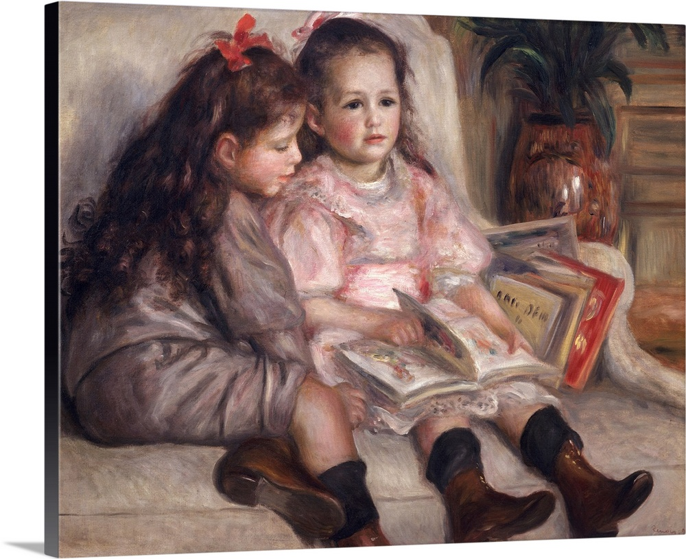 Large Gallery-Wrapped Canvas Wall Art Print 20 x 16 entitled Portraits of children, or The Children of Martial Caillebotte... Gallery-Wrapped Canvas entitled Portraits of children, or The Children of Martial Caillebotte, 1895.  Landscape, oversized classic painting of two young girls with dark, long hair, wearing dresses and boots, sitting next to each other on a chair while reading through a stack of books.  Multiple sizes available.  Primary colors within this image include Dark Gray, Light Gray, White.  Made in USA.  All products come with a 365 day workmanship guarantee.  Inks used are latex-based and designed to last.  Canvas is acid-free and 20 millimeters thick.  Canvases are stretched across a 1.5 inch thick wooden frame with easy-to-mount hanging hardware.
