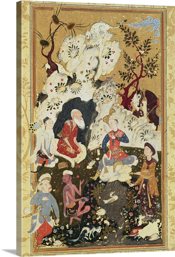 Large Solid-Faced Canvas Print Wall Art Print 20 x 30 entitled Prince visiting an Ascetic, from 'The Book of Love', Safavi... Solid-Faced Canvas Print entitled Prince visiting an Ascetic, from The Book of Love, Safavid Dynasty.  XIR283309 Prince visiting an Ascetic, from The Book of Love, Safavid Dynasty gouache on paper  by Persian School, 16th century Egyptian National Library, Cairo, Egypt add. info. Visite dun Prince a un Ascete, Le Livre dAmour Giraudon Persian, out of copyright.  Multiple sizes available.  Primary colors within this image include Dark Gray, White, Dark Forest Green, Light Gray Blue.  Made in USA.  All products come with a 365 day workmanship guarantee.  Inks used are latex-based and designed to last.  Canvas is handcrafted and made-to-order in the United States using high quality artist-grade canvas.  Archival inks prevent fading and preserve as much fine detail as possible with no over-saturation or color shifting.