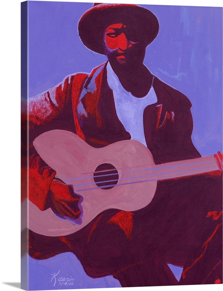 Large Solid-Faced Canvas Print Wall Art Print 30 x 40 entitled Purple Blues, 2006 Solid-Faced Canvas Print entitled Purple Blues, 2006.  Contemporary artwork of a musician holding a guitar while sitting down. Half of his body is shadowed.  Multiple sizes available.  Primary colors within this image include Dark Red, Plum, Lilac.  Made in the USA.  Satisfaction guaranteed.  Inks used are latex-based and designed to last.  Archival inks prevent fading and preserve as much fine detail as possible with no over-saturation or color shifting.  Canvas depth is 1.25 and includes a finished backing with pre-installed hanging hardware.