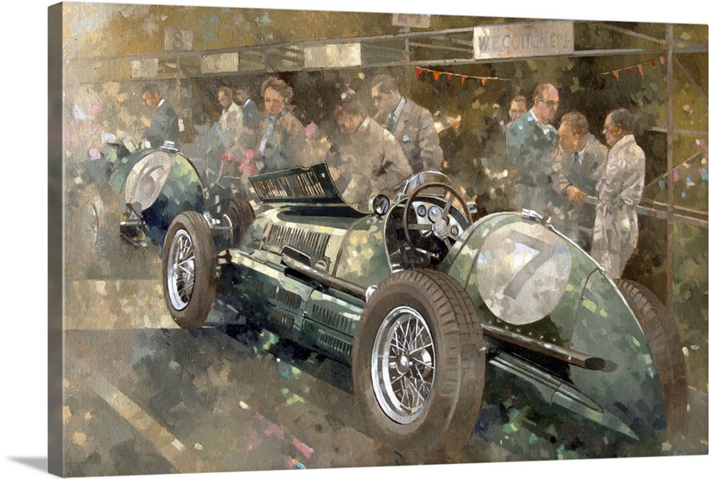 Large Gallery-Wrapped Canvas Wall Art Print 24 x 16 entitled R. Parnell's Maserati Gallery-Wrapped Canvas entitled R. Parnells Maserati.  This painting wall art is a painting of a vintage Italian race car surrounded by spectators at a race in period clothing.  Multiple sizes available.  Primary colors within this image include Dark Gray, Light Gray.  Made in the USA.  Satisfaction guaranteed.  Inks used are latex-based and designed to last.  Canvases have a UVB protection built in to protect against fading and moisture and are designed to last for over 100 years.  Canvas is acid-free and 20 millimeters thick.