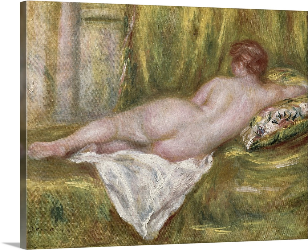 Large Solid-Faced Canvas Print Wall Art Print 30 x 24 entitled Reclining Nude from the Back, Rest after the Bath, c.1909 Solid-Faced Canvas Print entitled Reclining Nude from the Back, Rest after the Bath, c.1909.  Landscape classic painting of the back of a nude woman as she lays on her side on a blanketed surface, he arm propped on a decorative pillow.  Multiple sizes available.  Primary colors within this image include Black, Gray, Silver.  Made in the USA.  Satisfaction guaranteed.  Archival-quality UV-resistant inks.  Canvas depth is 1.25 and includes a finished backing with pre-installed hanging hardware.  Canvas is handcrafted and made-to-order in the United States using high quality artist-grade canvas.
