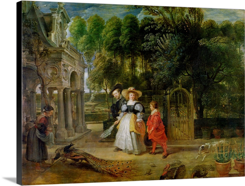 Large Solid-Faced Canvas Print Wall Art Print 40 x 30 entitled Rubens and Helene Fourment (1614 73) in the Garden Solid-Faced Canvas Print entitled Rubens and Helene Fourment 1614 73 in the Garden.  Multiple sizes available.  Primary colors within this image include Brown, Black, Gray, Silver.  Made in the USA.  Satisfaction guaranteed.  Archival-quality UV-resistant inks.  Canvas depth is 1.25 and includes a finished backing with pre-installed hanging hardware.  Canvas is handcrafted and made-to-order in the United States using high quality artist-grade canvas.