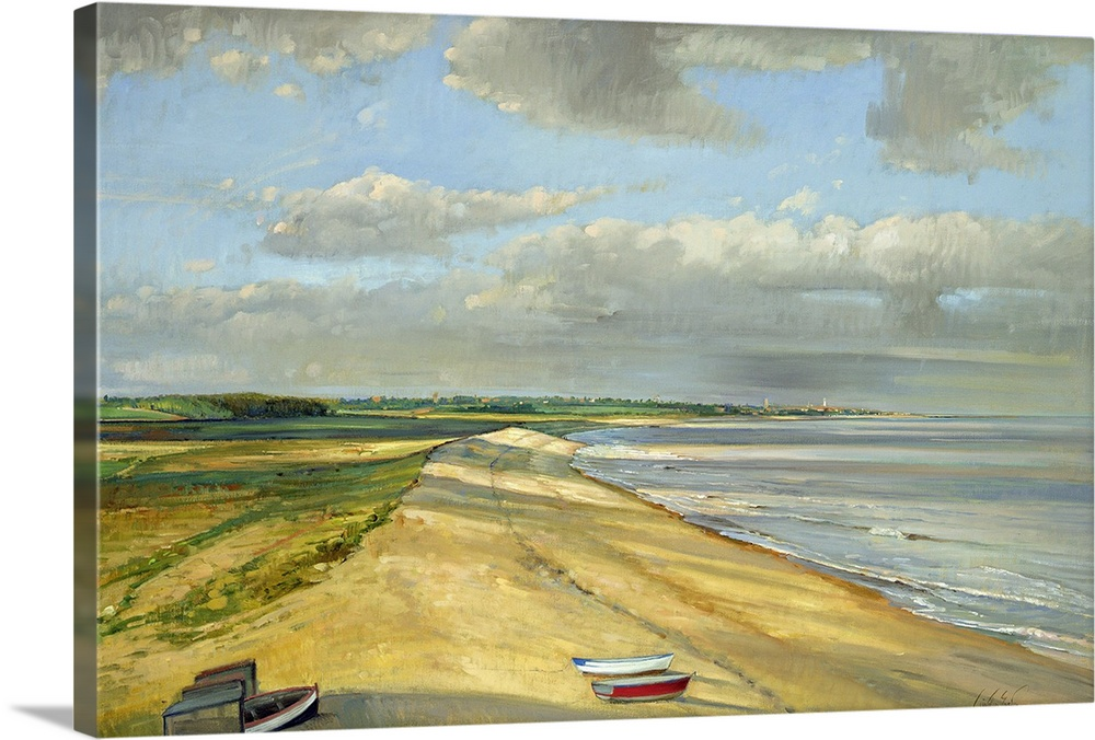 Large Solid-Faced Canvas Print Wall Art Print 30 x 20 entitled Shadowed Crescent, Dunwich Solid-Faced Canvas Print entitled Shadowed Crescent, Dunwich.  Landscape painting on a large wall hanging of the coastline looking towards Southwold, Suffolk, East Anglia, in the United Kingdom.  Several small boats sit on the sandy shore, while fields of green landscape extend into the distance.  Large grey clouds shadow the ground beneath.  Multiple sizes available.  Primary colors within this image include Brown, Peach, Gray, White.  Made in USA.  All products come with a 365 day workmanship guarantee.  Inks used are latex-based and designed to last.  Canvas is handcrafted and made-to-order in the United States using high quality artist-grade canvas.  Archival inks prevent fading and preserve as much fine detail as possible with no over-saturation or color shifting.