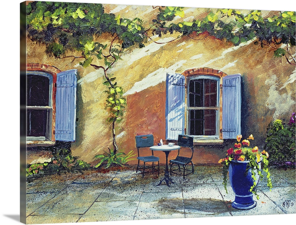 Large Gallery-Wrapped Canvas Wall Art Print 24 x 18 entitled Shuttered Windows, Provence, France, 1999 Gallery-Wrapped Canvas entitled Shuttered Windows, Provence, France, 1999.  Painted outdoor patio of two chairs and a table in front of a vine covered rustic wall with large blue shutter windows.  Multiple sizes available.  Primary colors within this image include Dark Red, Peach, Black, Gray.  Made in the USA.  Satisfaction guaranteed.  Inks used are latex-based and designed to last.  Canvases have a UVB protection built in to protect against fading and moisture and are designed to last for over 100 years.  Canvas is a 65 polyester, 35 cotton base, with two acrylic latex primer basecoats and a semi-gloss inkjet receptive topcoat.