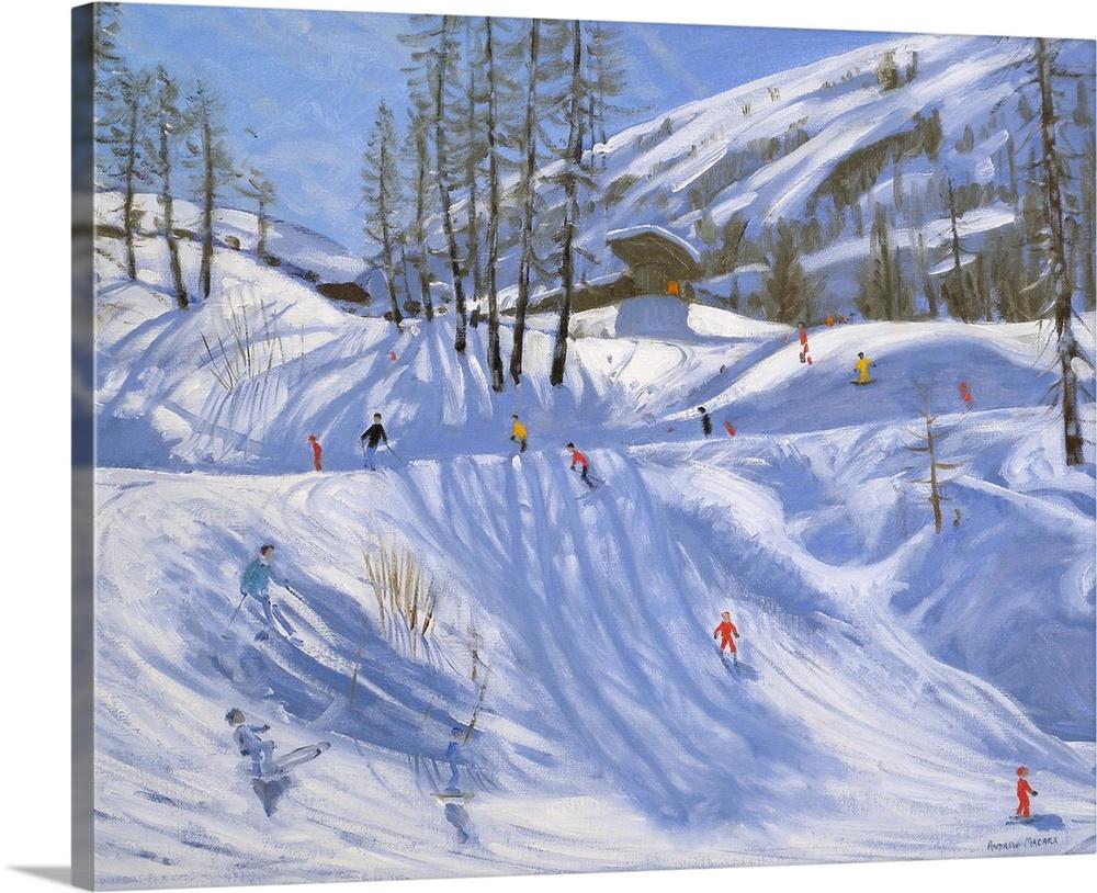 Solid-Faced Canvas drucken wand kunst entitled Ski station, Tignes, 2009