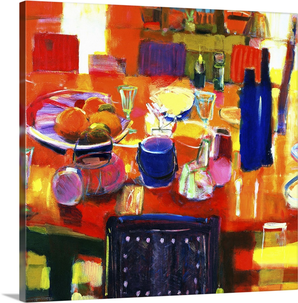 Large Gallery-Wrapped Canvas Wall Art Print 16 x 16 entitled Something Simple, 2000 Gallery-Wrapped Canvas entitled Something Simple, 2000.  Acrylic painting of items on a dinner table surrounded by chairs.  Some of the items include, a blow of fruit, cups, plates, silverware, a bucket of ice, and glass bottles. .  Multiple sizes available.  Primary colors within this image include Orange, Yellow, Lilac, White.  Made in the USA.  Satisfaction guaranteed.  Inks used are latex-based and designed to last.  Canvas is acid-free and 20 millimeters thick.  Museum-quality, artist-grade canvas mounted on sturdy wooden stretcher bars 1.5 thick.  Comes ready to hang.