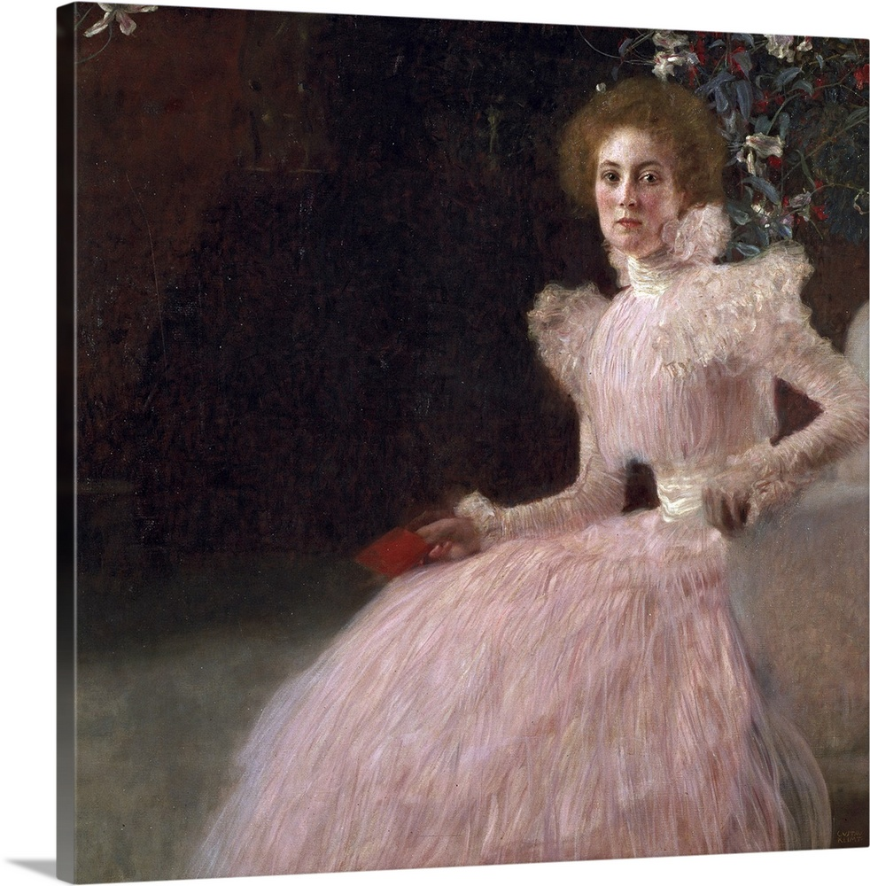 Large Gallery-Wrapped Canvas Wall Art Print 16 x 16 entitled Sonja Knips, 1898 Gallery-Wrapped Canvas entitled Sonja Knips, 1898.  A classic artwork piece that shows a woman sitting in a chair that is leaning forward wearing a pink dress with a bushel of flowers just behind her head.  Multiple sizes available.  Primary colors within this image include Black, Gray.  Made in USA.  Satisfaction guaranteed.  Inks used are latex-based and designed to last.  Canvases are stretched across a 1.5 inch thick wooden frame with easy-to-mount hanging hardware.  Canvases have a UVB protection built in to protect against fading and moisture and are designed to last for over 100 years.
