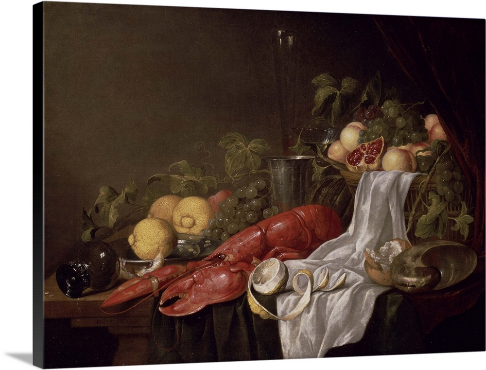 Large Solid-Faced Canvas Print Wall Art Print 40 x 30 entitled Still life of fruit and a lobster on a cloth-draped table Solid-Faced Canvas Print entitled Still life of fruit and a lobster on a cloth-draped table.  BAL31902 Still life of fruit and a lobster on a cloth-draped table oil on canvas  by Geerards, Jasper 17th century Johnny van Haeften Gallery, London, UK Dutch, out of copyright.  Multiple sizes available.  Primary colors within this image include Dark Red, Black, Light Gray.  Made in the USA.  Satisfaction guaranteed.  Archival-quality UV-resistant inks.  Featuring a proprietary design, our canvases produce the tightest corners without any bubbles, ripples, or bumps and will not warp or sag over time.  Canvas is handcrafted and made-to-order in the United States using high quality artist-grade canvas.