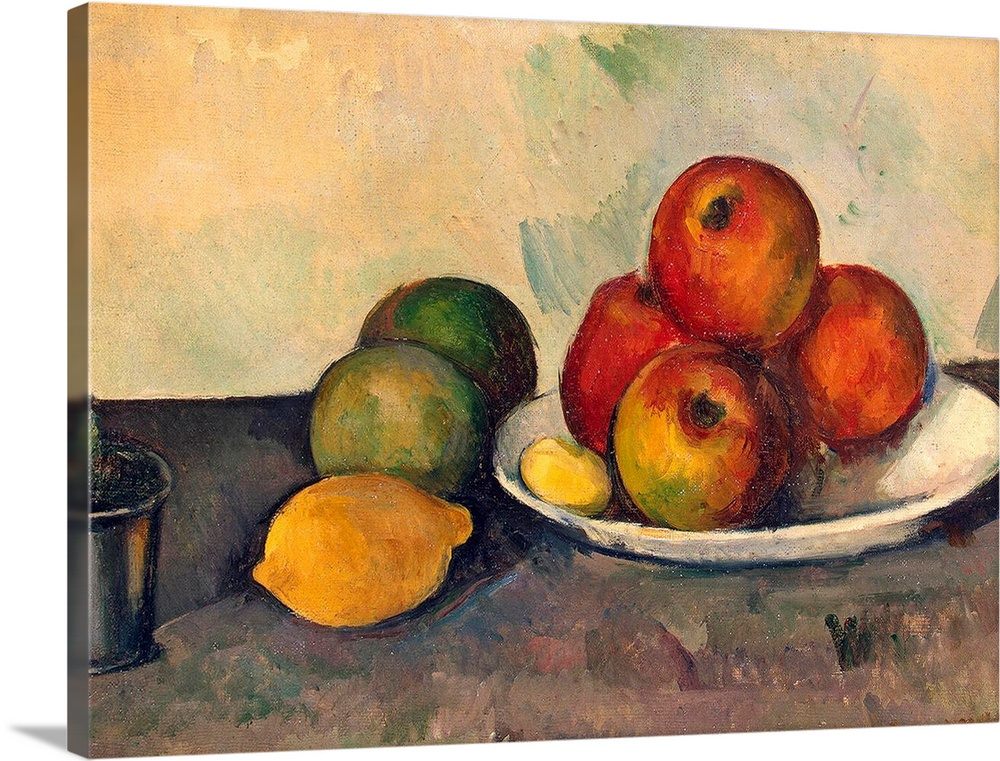 Large Solid-Faced Canvas Print Wall Art Print 40 x 30 entitled Still life with Apples, c.1890 Solid-Faced Canvas Print entitled Still life with Apples, c.1890.  Large classic art focuses on an arrangement of fruit sitting on a plate, as well as directly in contact with a table standing in front of a bare background.  Multiple sizes available.  Primary colors within this image include Orange, Dark Red, Peach, Gray.  Made in USA.  All products come with a 365 day workmanship guarantee.  Inks used are latex-based and designed to last.  Archival inks prevent fading and preserve as much fine detail as possible with no over-saturation or color shifting.  Canvas is handcrafted and made-to-order in the United States using high quality artist-grade canvas.