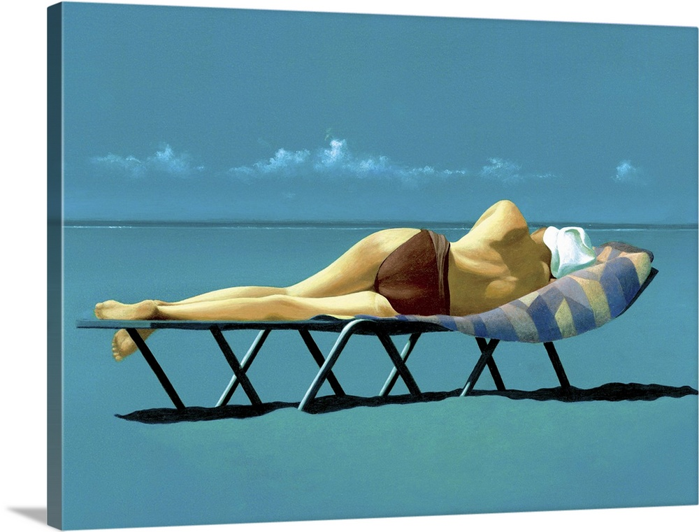 Large Gallery-Wrapped Canvas Wall Art Print 24 x 18 entitled Sunbather Gallery-Wrapped Canvas entitled Sunbather.  Contemporary oil painting of a woman sunbathing on a lounge chair by the waters edge.  Multiple sizes available.  Primary colors within this image include Peach, Black, Teal, Dark Navy Blue.  Made in the USA.  Satisfaction guaranteed.  Inks used are latex-based and designed to last.  Canvases have a UVB protection built in to protect against fading and moisture and are designed to last for over 100 years.  Canvas is designed to prevent fading.
