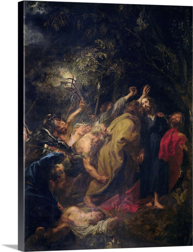 Large Solid-Faced Canvas Print Wall Art Print 30 x 40 entitled The Arrest of Christ in the Gardens, c.1628 30 Solid-Faced Canvas Print entitled The Arrest of Christ in the Gardens, c.1628 30.  XIR36922 The Arrest of Christ in the Gardens, c.1628-30 oil on canvas  by Dyck, Sir Anthony van 1599-1641 344x249 cm Prado, Madrid, Spain Giraudon Flemish, out of copyright.  Multiple sizes available.  Primary colors within this image include Plum, Light Gray, Dark Navy Blue.  Made in the USA.  Satisfaction guaranteed.  Inks used are latex-based and designed to last.  Canvas depth is 1.25 and includes a finished backing with pre-installed hanging hardware.  Archival inks prevent fading and preserve as much fine detail as possible with no over-saturation or color shifting.