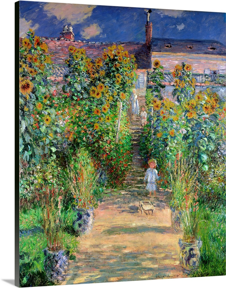 Large Solid-Faced Canvas Print Wall Art Print 24 x 30 entitled The Artists Garden at Vetheuil, 1880 Solid-Faced Canvas Print entitled The Artists Garden at Vetheuil, 1880.  Classical oil painting of child wondering down dirt pathway lined with sunflowers and tall grass under a cloudy sky.  Multiple sizes available.  Primary colors within this image include Brown, Forest Green, Peach, Black.  Made in USA.  Satisfaction guaranteed.  Archival-quality UV-resistant inks.  Canvas is handcrafted and made-to-order in the United States using high quality artist-grade canvas.  Canvas depth is 1.25 and includes a finished backing with pre-installed hanging hardware.