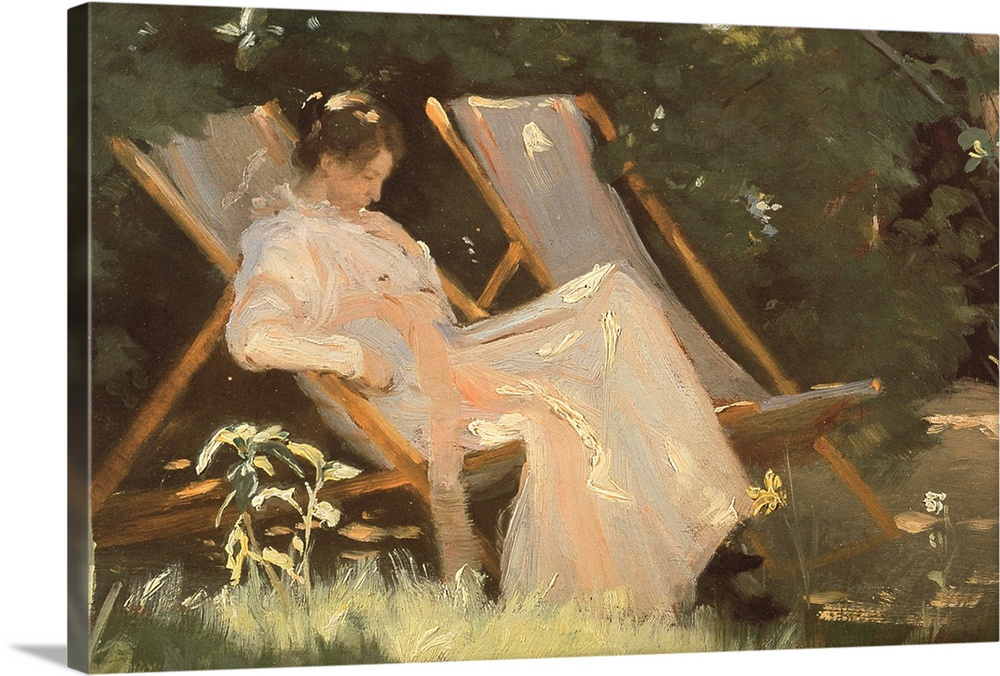 Large Solid-Faced Canvas Print Wall Art Print 30 x 20 entitled The artist's wife sitting in a garden chair at Skagen, 1893 Solid-Faced Canvas Print entitled The artists wife sitting in a garden chair at Skagen, 1893.  BAL28463 The artists wife sitting in a garden chair at Skagen, 1893  by Kroyer, Peder Severin 1851-1909 oil on canvas 24x31 cm Skagens Museum, Denmark Danish, out of copyright.  Multiple sizes available.  Primary colors within this image include Peach, White, Dark Forest Green.  Made in USA.  Satisfaction guaranteed.  Inks used are latex-based and designed to last.  Canvas is handcrafted and made-to-order in the United States using high quality artist-grade canvas.  Canvas depth is 1.25 and includes a finished backing with pre-installed hanging hardware.