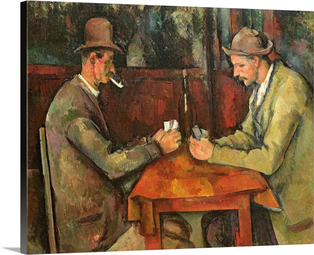 Large Solid-Faced Canvas Print Wall Art Print 30 x 24 entitled The Card Players, 1893 96 Solid-Faced Canvas Print entitled The Card Players, 1893 96.  Two men dressed in casual working class clothing play cards a small table with a bottle of wine in this painting from a master painter.  Multiple sizes available.  Primary colors within this image include Brown, Peach, Gray.  Made in the USA.  Satisfaction guaranteed.  Inks used are latex-based and designed to last.  Canvas depth is 1.25 and includes a finished backing with pre-installed hanging hardware.  Canvas is handcrafted and made-to-order in the United States using high quality artist-grade canvas.