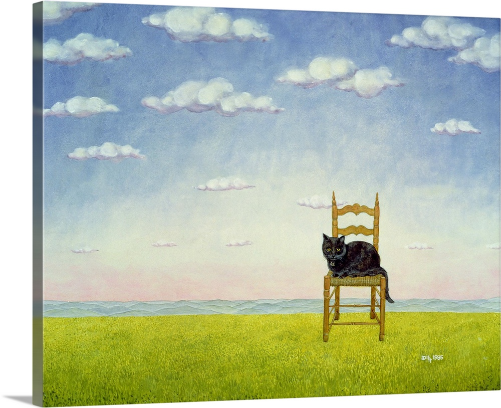 Large Solid-Faced Canvas Print Wall Art Print 30 x 24 entitled The Chair Cat Solid-Faced Canvas Print entitled The Chair Cat.  Multiple sizes available.  Primary colors within this image include Dark Yellow, Black, Silver.  Made in the USA.  All products come with a 365 day workmanship guarantee.  Archival-quality UV-resistant inks.  Canvas is handcrafted and made-to-order in the United States using high quality artist-grade canvas.  Featuring a proprietary design, our canvases produce the tightest corners without any bubbles, ripples, or bumps and will not warp or sag over time.