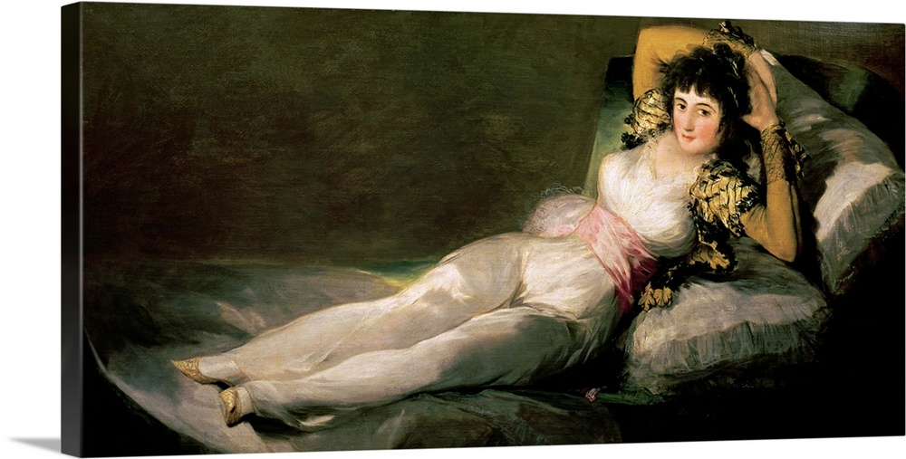 Large Gallery-Wrapped Canvas Wall Art Print 30 x 14 entitled The Clothed Maja, c.1800 Gallery-Wrapped Canvas entitled The Clothed Maja, c.1800.  XIR526 The Clothed Maja, c.1800 oil on canvas by Goya y Lucientes, Francisco Jose de 1746-1828 95x190 cm Prado, Madrid, Spain Giraudon Spanish, out of copyright.  Multiple sizes available.  Primary colors within this image include Plum, Black, Light Gray, Dark Forest Green.  Made in USA.  All products come with a 365 day workmanship guarantee.  Archival-quality UV-resistant inks.  Canvas frames are built with farmed or reclaimed domestic pine or poplar wood.  Canvases have a UVB protection built in to protect against fading and moisture and are designed to last for over 100 years.