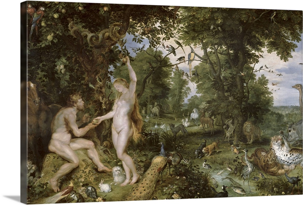 Large Solid-Faced Canvas Print Wall Art Print 30 x 20 entitled The Garden of Eden with the Fall of Man, c.1615 Solid-Faced Canvas Print entitled The Garden of Eden with the Fall of Man, c.1615.  BAL7152 The Garden of Eden with the Fall of Man, c.1615 oil on panel  by Brueghel, Jan 1568-1625  Rubens, P.P. 1577-1640 74x114 cm Mauritshuis, The Hague, The Netherlands add. info. figures of Adam and Eve are by Rubens Dutch, out of copyright.  Multiple sizes available.  Primary colors within this image include Black, Gray, Silver.  Made in the USA.  Satisfaction guaranteed.  Archival-quality UV-resistant inks.  Canvas is handcrafted and made-to-order in the United States using high quality artist-grade canvas.  Canvas depth is 1.25 and includes a finished backing with pre-installed hanging hardware.