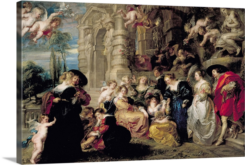 Large Solid-Faced Canvas Print Wall Art Print 30 x 20 entitled The Garden of Love, c.1630 32 Solid-Faced Canvas Print entitled The Garden of Love, c.1630 32.  XIR36860 The Garden of Love, c.1630-32 oil on canvas  by Rubens, Peter Paul 1577-1640 198x283 cm Prado, Madrid, Spain Giraudon Flemish, out of copyright.  Multiple sizes available.  Primary colors within this image include Plum, Black, Gray.  Made in the USA.  All products come with a 365 day workmanship guarantee.  Archival-quality UV-resistant inks.  Canvas depth is 1.25 and includes a finished backing with pre-installed hanging hardware.  Featuring a proprietary design, our canvases produce the tightest corners without any bubbles, ripples, or bumps and will not warp or sag over time.