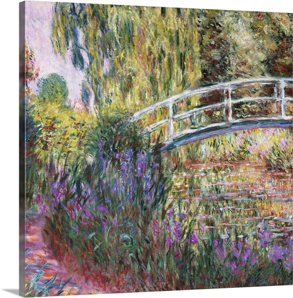 Large Solid-Faced Canvas Print Wall Art Print 20 x 20 entitled The Japanese Bridge, Pond with Water Lilies, 1900 Solid-Faced Canvas Print entitled The Japanese Bridge, Pond with Water Lilies, 1900.  Irises bloom along a path through a French garden in this classic Impressionist painting available as gicloe print for the home or office.  Multiple sizes available.  Primary colors within this image include Dark Yellow, Black, Gray, White.  Made in the USA.  Satisfaction guaranteed.  Archival-quality UV-resistant inks.  Archival inks prevent fading and preserve as much fine detail as possible with no over-saturation or color shifting.  Canvas depth is 1.25 and includes a finished backing with pre-installed hanging hardware.