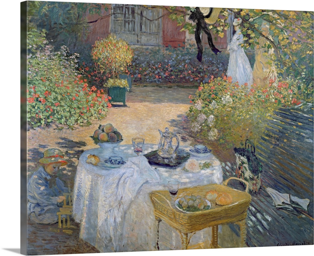 Large Solid-Faced Canvas Print Wall Art Print 30 x 24 entitled The Luncheon: Monets garden at Argenteuil, c.1873 Solid-Faced Canvas Print entitled The Luncheon Monets garden at Argenteuil, c.1873.  Big classic art showcases a couple of women and a child enjoying an afternoon snack within a courtyard on a sunny day.  Around the people are bright arrangements of flowers and a tree encompassing the entire space.  Multiple sizes available.  Primary colors within this image include Pink, Peach, Gray, Silver.  Made in USA.  Satisfaction guaranteed.  Archival-quality UV-resistant inks.  Canvas depth is 1.25 and includes a finished backing with pre-installed hanging hardware.  Featuring a proprietary design, our canvases produce the tightest corners without any bubbles, ripples, or bumps and will not warp or sag over time.