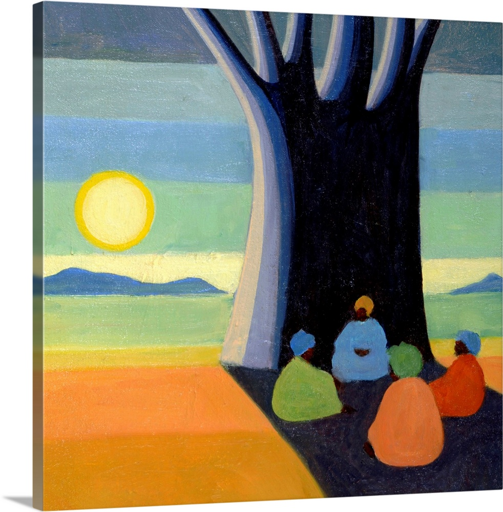 Large Solid-Faced Canvas Print Wall Art Print 20 x 20 entitled The Meeting, 2005 Solid-Faced Canvas Print entitled The Meeting, 2005.  Big contemporary art depicts four women sitting in the shadow of an enormous tree positioned in a bare landscape against a background composed of the sun standing above a mountain range.  Artist uses a number of thin rectangles stacked on top of each other for the landscape.  Multiple sizes available.  Primary colors within this image include Orange, Light Yellow, Black, Dark Forest Green.  Made in the USA.  All products come with a 365 day workmanship guarantee.  Inks used are latex-based and designed to last.  Canvas depth is 1.25 and includes a finished backing with pre-installed hanging hardware.  Canvas is handcrafted and made-to-order in the United States using high quality artist-grade canvas.