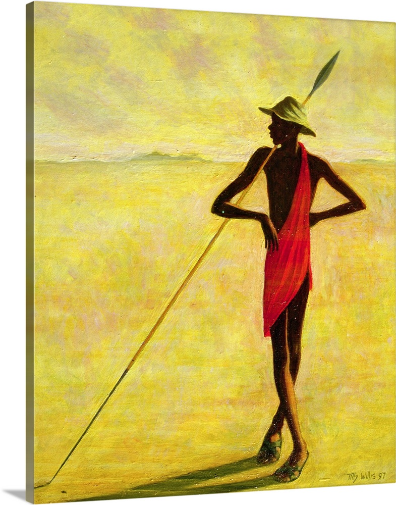 Large Solid-Faced Canvas Print Wall Art Print 24 x 30 entitled The Shady Tree, 1992 Solid-Faced Canvas Print entitled The Shady Tree, 1992.  A figure standing on the African plains, cast in shadows, leaning against a long spear.  Multiple sizes available.  Primary colors within this image include Dark Red, Brown, Light Yellow, Black.  Made in USA.  All products come with a 365 day workmanship guarantee.  Archival-quality UV-resistant inks.  Canvas is handcrafted and made-to-order in the United States using high quality artist-grade canvas.  Featuring a proprietary design, our canvases produce the tightest corners without any bubbles, ripples, or bumps and will not warp or sag over time.