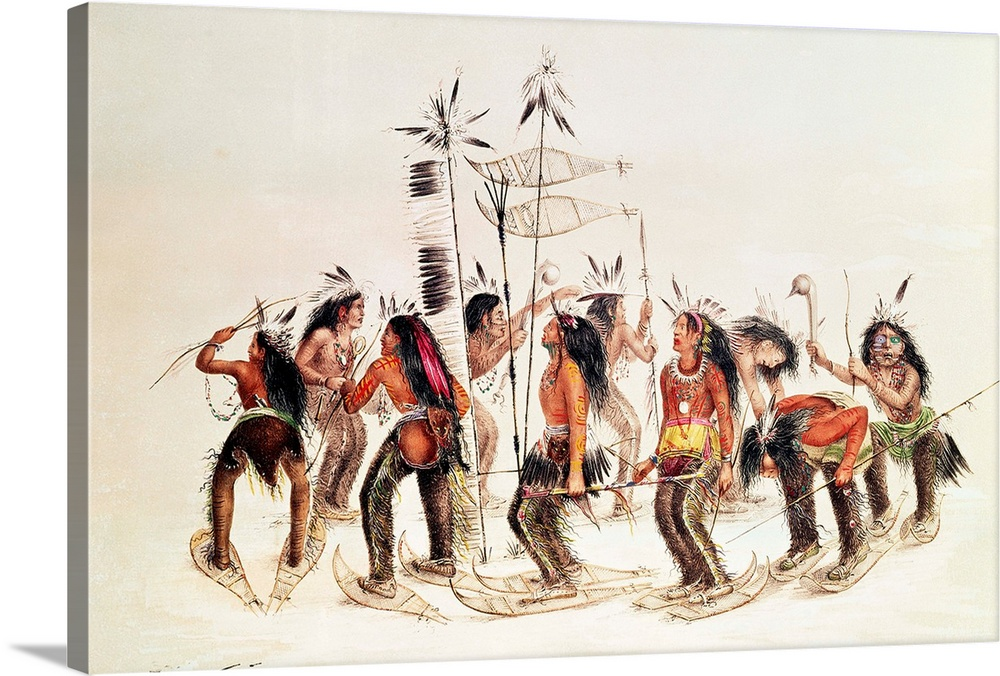 Large Solid-Faced Canvas Print Wall Art Print 30 x 20 entitled The Snow-Shoe Dance: To Thank the Great Spirit for the Firs... Solid-Faced Canvas Print entitled The Snow-Shoe Dance To Thank the Great Spirit for the First Appearance of Snow.  Multiple sizes available.  Primary colors within this image include Pink, Black, Gray, White.  Made in USA.  Satisfaction guaranteed.  Archival-quality UV-resistant inks.  Featuring a proprietary design, our canvases produce the tightest corners without any bubbles, ripples, or bumps and will not warp or sag over time.  Canvas is handcrafted and made-to-order in the United States using high quality artist-grade canvas.
