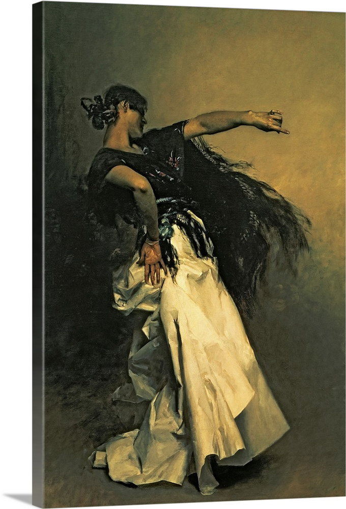 Large Gallery-Wrapped Canvas Wall Art Print 16 x 24 entitled The Spanish Dancer, study for El Jaleo, 1882 Gallery-Wrapped Canvas entitled The Spanish Dancer study for El Jaleo 1882.  Classic artwork of a Spanish dancer wearing a long white skirt and a black shawl which moves with her as she moves her body.  Multiple sizes available.  Primary colors within this image include Brown Peach Dark Gray.  Made in the USA.  All products come with a 365 day workmanship guarantee.  Inks used are latex-based and designed to last.  Canvas is acid-free and 20 millimeters thick.  Canvases are stretched across a 1.5 inch thick wooden frame with easy-to-mount hanging hardware.