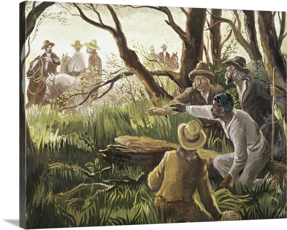 Large Solid-Faced Canvas Print Wall Art Print 24 x 18 entitled The Underground Railroad Aids With A Runaway Slave Solid-Faced Canvas Print entitled The Underground Railroad Aids With A Runaway Slave.  The Underground Railroad Aids with a Runaway Slave oil on canvas by Davies, John 20th century Private Collection add.info. The Underground Railway helped slaves escape from the American South Harriet Tubman led 300 slaves to freedom.  Multiple sizes available.  Primary colors within this image include White, Dark Forest Green.  Made in the USA.  All products come with a 365 day workmanship guarantee.  Inks used are latex-based and designed to last.  Canvas is handcrafted and made-to-order in the United States using high quality artist-grade canvas.  Archival inks prevent fading and preserve as much fine detail as possible with no over-saturation or color shifting.