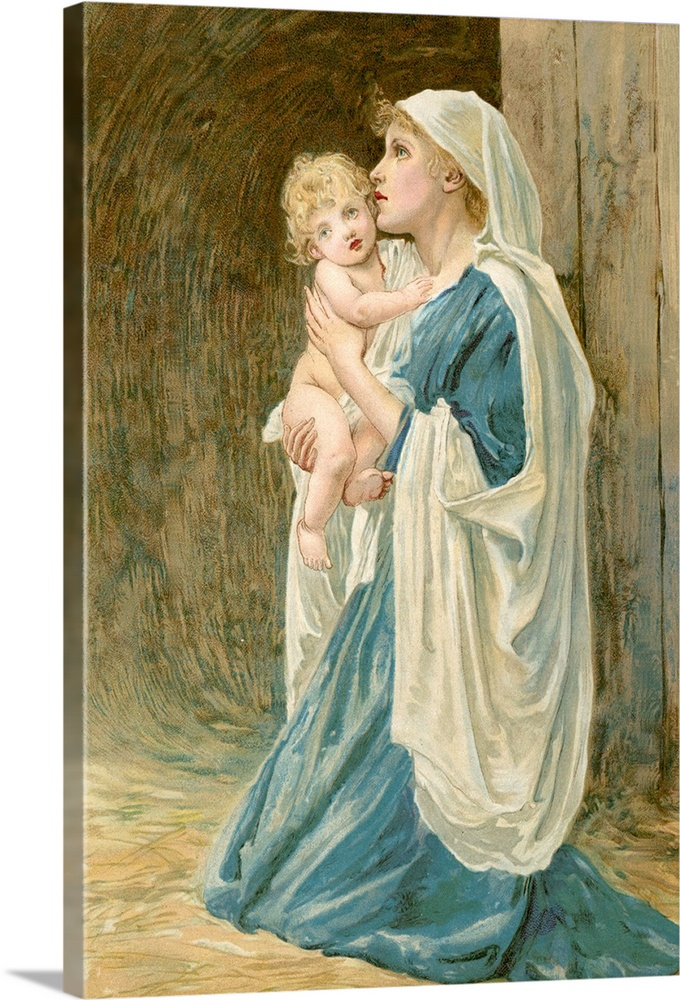 Solid-Faced Canvas drucken wand kunst entitled The Virgin Mary with Jesus