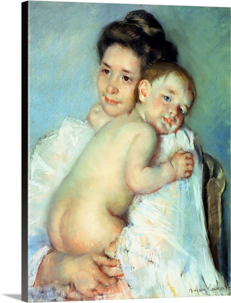 Large Gallery-Wrapped Canvas Wall Art Print 18 x 24 entitled The Young Mother Gallery-Wrapped Canvas entitled The Young Mother.  Multiple sizes available.  Primary colors within this image include Peach Black Light Gray White.  Made in USA.  All products come with a 365 day workmanship guarantee.  Inks used are latex-based and designed to last.  Museum-quality artist-grade canvas mounted on sturdy wooden stretcher bars 1.5 thick.  Comes ready to hang.  Canvas is acid-free and 20 millimeters thick.