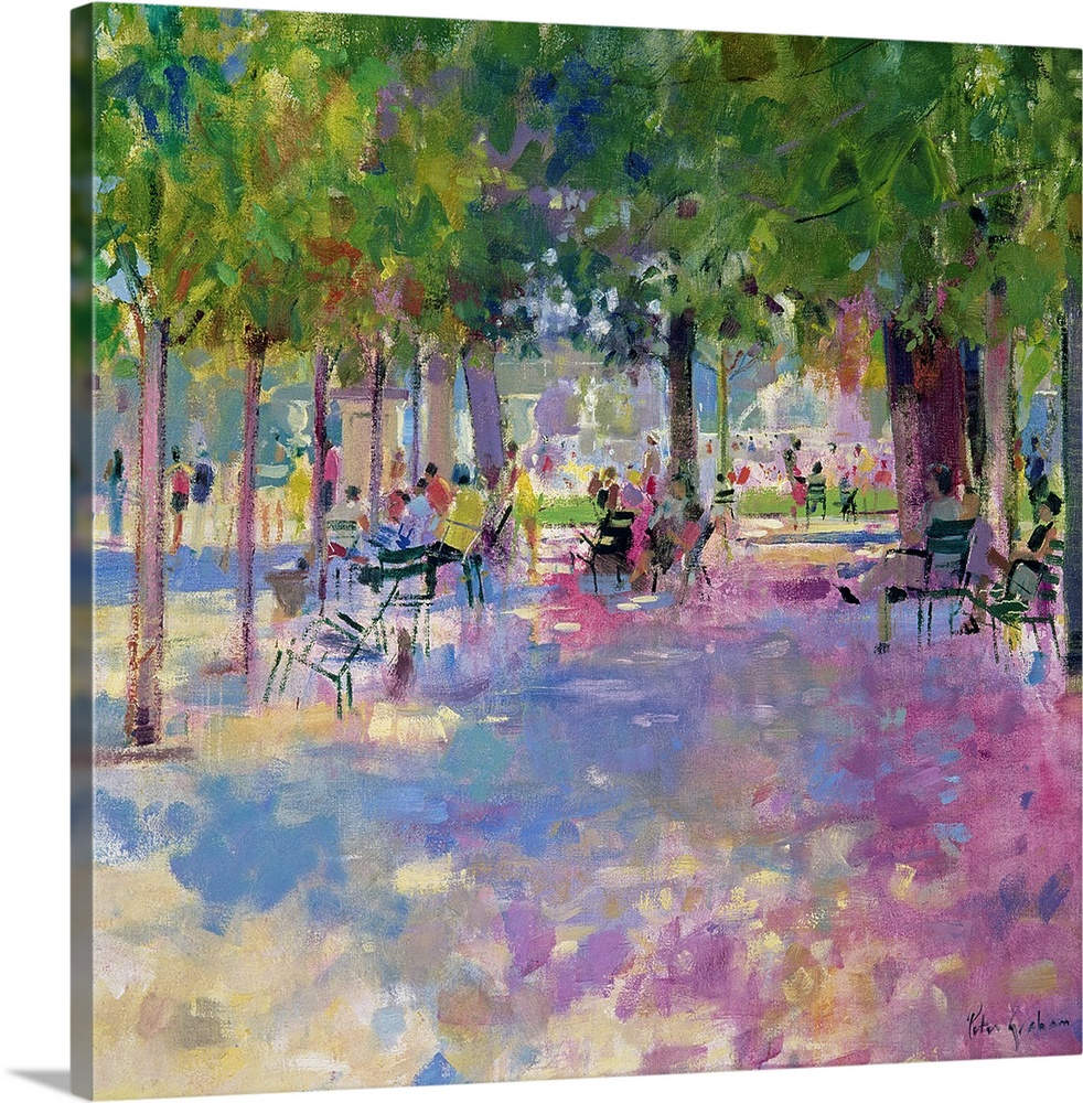 Large Gallery-Wrapped Canvas Wall Art Print 16 x 16 entitled Tuileries, Paris Gallery-Wrapped Canvas entitled Tuileries, Paris.  Contemporary painting of park on a sunny day.   There is a wide path lined with huge trees and chairs.  There is a grass meadow and park goers in the distance.  Multiple sizes available.  Primary colors within this image include Black, Light Gray, Dark Forest Green.  Made in the USA.  Satisfaction guaranteed.  Inks used are latex-based and designed to last.  Canvases are stretched across a 1.5 inch thick wooden frame with easy-to-mount hanging hardware.  Canvas is designed to prevent fading.