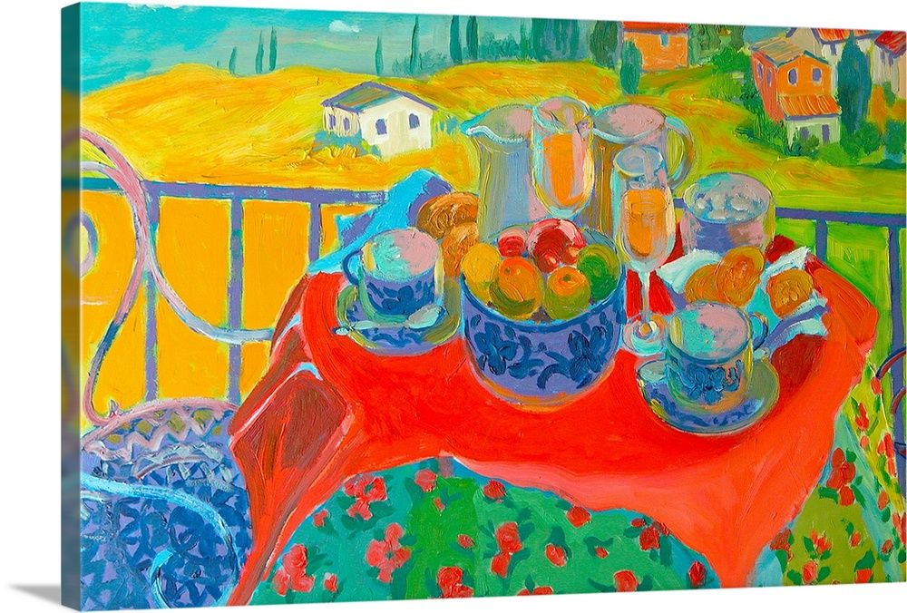 Large Gallery-Wrapped Canvas Wall Art Print 24 x 16 entitled Tuscan Terrace Gallery-Wrapped Canvas entitled Tuscan Terrace.  Painting of chairs around a table covered with dishes and food with houses in the background.  Multiple sizes available.  Primary colors within this image include Red, Orange, Forest Green, Teal.  Made in the USA.  Satisfaction guaranteed.  Inks used are latex-based and designed to last.  Canvases have a UVB protection built in to protect against fading and moisture and are designed to last for over 100 years.  Canvases are stretched across a 1.5 inch thick wooden frame with easy-to-mount hanging hardware.