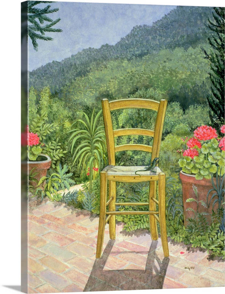 Large Solid-Faced Canvas Print Wall Art Print 30 x 40 entitled Umbrian Chair Solid-Faced Canvas Print entitled Umbrian Chair.  Multiple sizes available.  Primary colors within this image include Dark Yellow, Pink, Light Gray, Light Gray Blue.  Made in the USA.  All products come with a 365 day workmanship guarantee.  Inks used are latex-based and designed to last.  Canvas depth is 1.25 and includes a finished backing with pre-installed hanging hardware.  Archival inks prevent fading and preserve as much fine detail as possible with no over-saturation or color shifting.