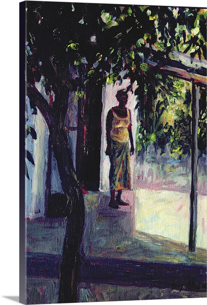 Large Gallery-Wrapped Canvas Wall Art Print 16 x 24 entitled Under the Verandah, 2002 Gallery-Wrapped Canvas entitled Under the Verandah 2002.  Big vertical figurative painting of an African American woman in a skirt and tank top standing beneath a canopy that sits behind a large shade tree in the foreground.  .  Multiple sizes available.  Primary colors within this image include Plum Black Gray White.  Made in USA.  All products come with a 365 day workmanship guarantee.  Archival-quality UV-resistant inks.  Museum-quality artist-grade canvas mounted on sturdy wooden stretcher bars 1.5 thick.  Comes ready to hang.  Canvas is acid-free and 20 millimeters thick.