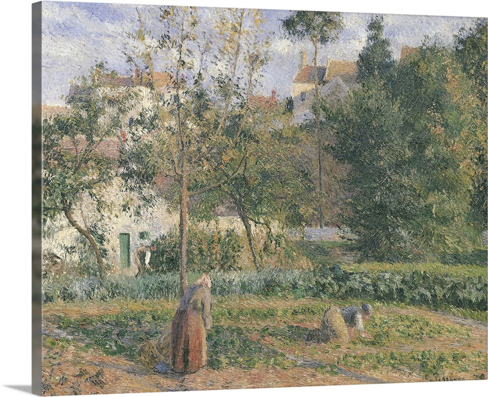 Large Solid-Faced Canvas Print Wall Art Print 30 x 24 entitled Vegetable Garden at the Hermitage, Pontoise, 1879 Solid-Faced Canvas Print entitled Vegetable Garden at the Hermitage, Pontoise, 1879.  XIR33791 Vegetable Garden at the Hermitage, Pontoise, 1879 oil on canvas  by Pissarro, Camille 1831-1903 55x65.5 cm Musee dOrsay, Paris, France Giraudon French, out of copyright.  Multiple sizes available.  Primary colors within this image include Black, Gray, White.  Made in the USA.  Satisfaction guaranteed.  Inks used are latex-based and designed to last.  Archival inks prevent fading and preserve as much fine detail as possible with no over-saturation or color shifting.  Canvas depth is 1.25 and includes a finished backing with pre-installed hanging hardware.