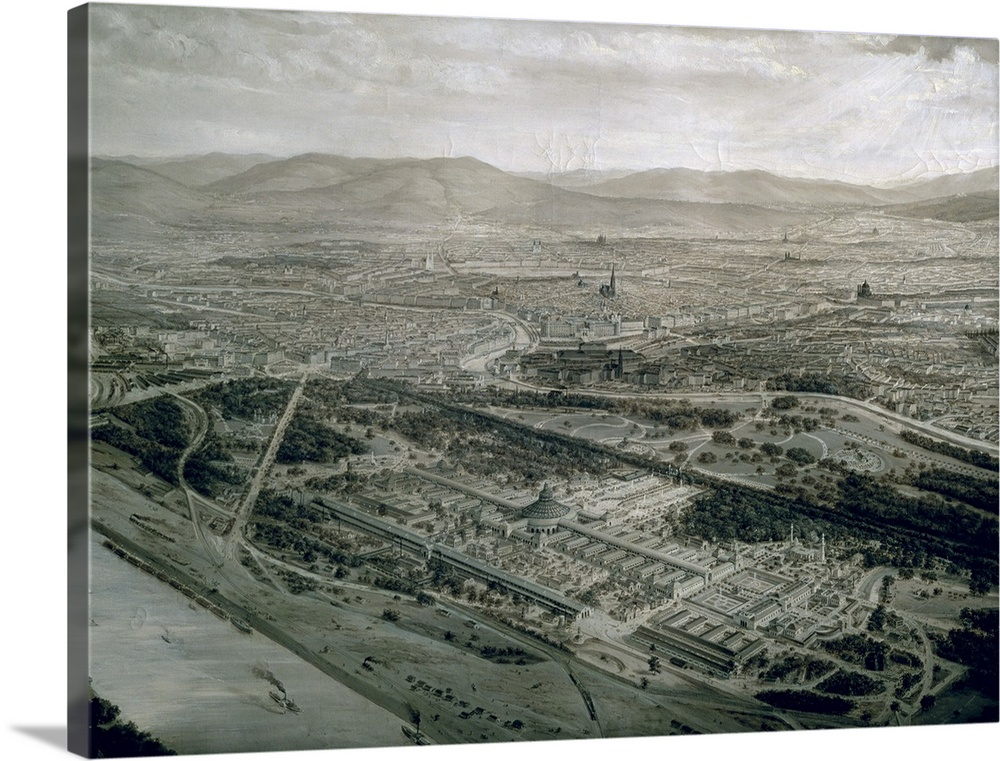 Large Solid-Faced Canvas Print Wall Art Print 40 x 30 entitled View of Vienna at the time of the World Exhibition, 1873 Solid-Faced Canvas Print entitled View of Vienna at the time of the World Exhibition, 1873.  XAM70763 View of Vienna at the time of the World Exhibition, 1873  by Langl, Josef 1843-1916 oil on canvas Wien Museum Karlsplatz, Vienna, Austria Austrian, out of copyright.  Multiple sizes available.  Primary colors within this image include Black, Light Gray.  Made in USA.  Satisfaction guaranteed.  Inks used are latex-based and designed to last.  Featuring a proprietary design, our canvases produce the tightest corners without any bubbles, ripples, or bumps and will not warp or sag over time.  Archival inks prevent fading and preserve as much fine detail as possible with no over-saturation or color shifting.