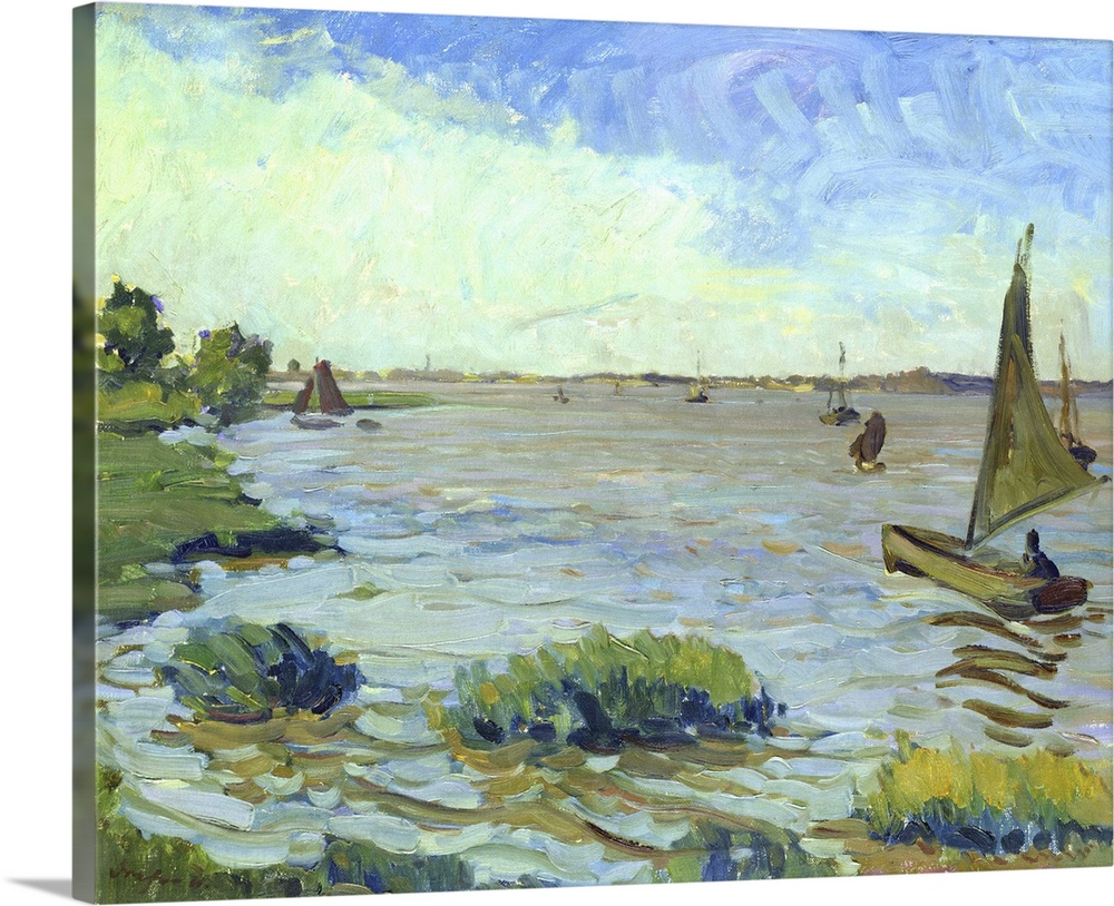 Large Solid-Faced Canvas Print Wall Art Print 30 x 24 entitled Windy Day on the Elbe, 1911 Solid-Faced Canvas Print entitled Windy Day on the Elbe, 1911.  XKH179535 Windy Day on the Elbe, 1911 oil on canvas  by Dreher, Richard 1875-1932 54x68 cm Hamburger Kunsthalle, Hamburg, Germany add. info. Windiger Tag auf der Elbe German, out of copyright.  Multiple sizes available.  Primary colors within this image include Sky Blue, Gray, White, Dark Navy Blue.  Made in USA.  All products come with a 365 day workmanship guarantee.  Inks used are latex-based and designed to last.  Featuring a proprietary design, our canvases produce the tightest corners without any bubbles, ripples, or bumps and will not warp or sag over time.  Canvas is handcrafted and made-to-order in the United States using high quality artist-grade canvas.