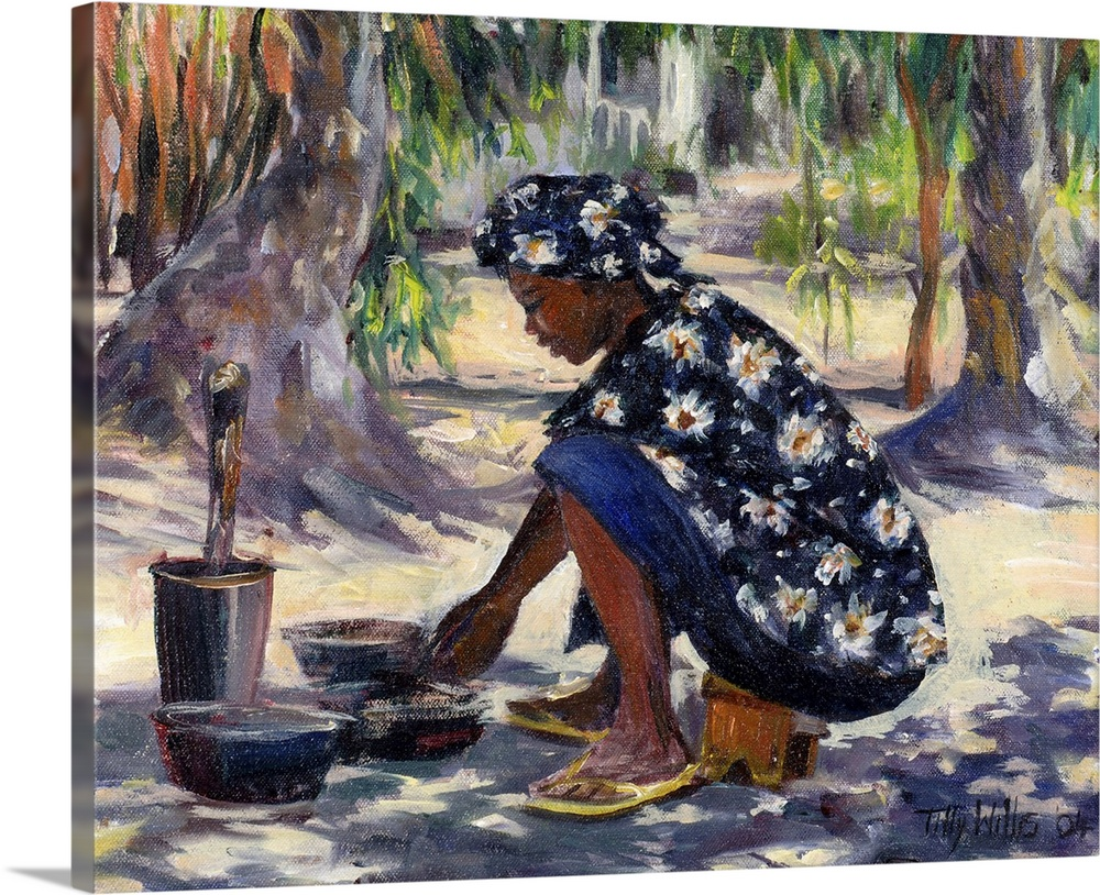 Large Gallery-Wrapped Canvas Wall Art Print 20 x 16 entitled Woman Cooking, 2004 Gallery-Wrapped Canvas entitled Woman Cooking, 2004.  Horizontal painting on a big wall hanging of an African American woman in floral clothing, squatting beneath shade trees as she cooks in several pots on the ground.  Multiple sizes available.  Primary colors within this image include Brown, Black, Gray, White.  Made in USA.  Satisfaction guaranteed.  Archival-quality UV-resistant inks.  Canvas frames are built with farmed or reclaimed domestic pine or poplar wood.  Museum-quality, artist-grade canvas mounted on sturdy wooden stretcher bars 1.5 thick.  Comes ready to hang.
