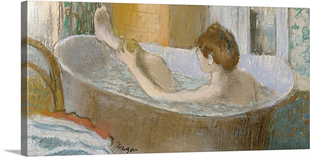 Large Gallery-Wrapped Canvas Wall Art Print 24 x 12 entitled Woman in her Bath, Sponging her Leg, c.1883 Gallery-Wrapped Canvas entitled Woman in her Bath, Sponging her Leg, c.1883.  Panoramic classic art focuses on a lady bathing herself in a large tub within her house.  Her clothes sit draped over a chair next to the tub, while a dresser sits in the far corner of the room.  Multiple sizes available.  Primary colors within this image include Black, Silver, Dark Forest Green.  Made in the USA.  Satisfaction guaranteed.  Archival-quality UV-resistant inks.  Canvas is designed to prevent fading.  Canvas is a 65 polyester, 35 cotton base, with two acrylic latex primer basecoats and a semi-gloss inkjet receptive topcoat.