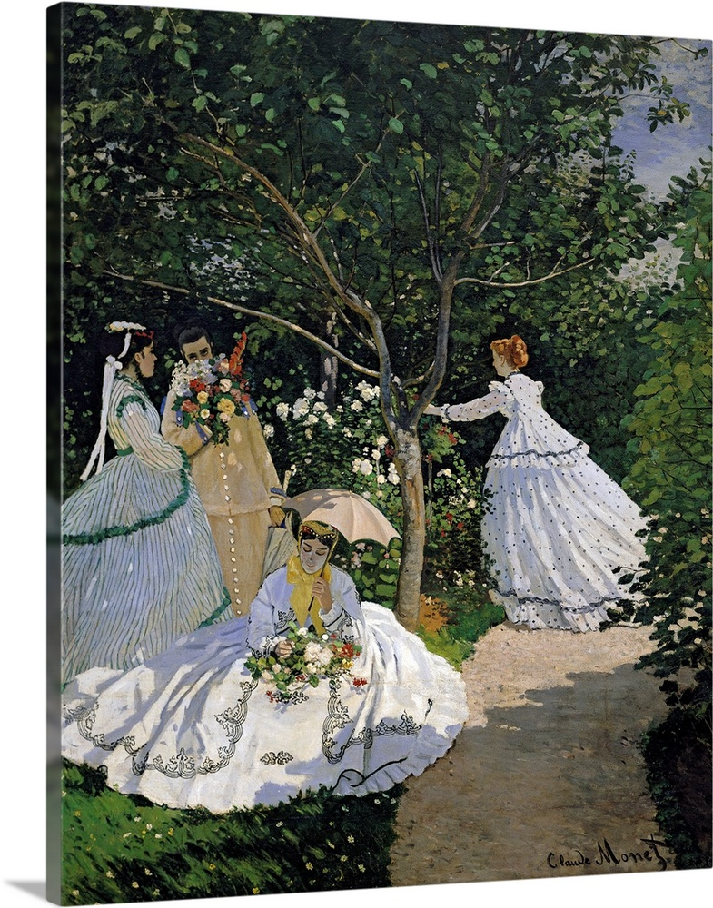 Large Solid-Faced Canvas Print Wall Art Print 24 x 30 entitled Women in the Garden, 1866 Solid-Faced Canvas Print entitled Women in the Garden, 1866.  Classic oil painting by Claude Monet of four ladies surrounded by flowers and greenery.  Multiple sizes available.  Primary colors within this image include Peach, Dark Gray, Silver, Gray Blue.  Made in USA.  Satisfaction guaranteed.  Inks used are latex-based and designed to last.  Archival inks prevent fading and preserve as much fine detail as possible with no over-saturation or color shifting.  Canvas is handcrafted and made-to-order in the United States using high quality artist-grade canvas.