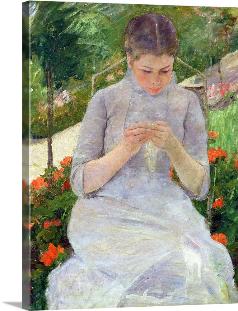 Large Solid-Faced Canvas Print Wall Art Print 30 x 40 entitled Young Woman Sewing in the garden, c.1880 82 Solid-Faced Canvas Print entitled Young Woman Sewing in the garden, c.1880 82.  XIR16687 Young Woman Sewing in the garden, c.1880-82 oil on canvas  by Cassatt, Mary Stevenson 1844-1926 92x63 cm Musee dOrsay, Paris, France add. info. Jeune Fille au Jardin ou Femme Cousant dans le Jardin American, out of copyright.  Multiple sizes available.  Primary colors within this image include Orange, Forest Green, Light Green, Silver.  Made in USA.  Satisfaction guaranteed.  Archival-quality UV-resistant inks.  Featuring a proprietary design, our canvases produce the tightest corners without any bubbles, ripples, or bumps and will not warp or sag over time.  Archival inks prevent fading and preserve as much fine detail as possible with no over-saturation or color shifting.