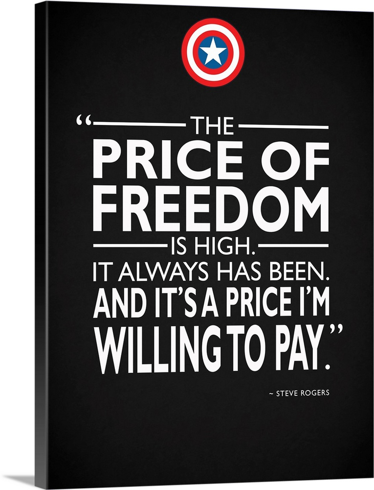 Large Solid-Faced Canvas Print Wall Art Print 36 x 48 entitled Captain America - Freedom Solid-Faced Canvas Print entitled Captain America - Freedom.  The price of freedom is high. It always has been. And its a price Im willing to pay. -Steve Rogers.  Multiple sizes available.  Primary colors within this image include Black, White, Muted Blue.  Made in the USA.  Satisfaction guaranteed.  Archival-quality UV-resistant inks.  Canvas depth is 1.25 and includes a finished backing with pre-installed hanging hardware.  Canvas is handcrafted and made-to-order in the United States using high quality artist-grade canvas.