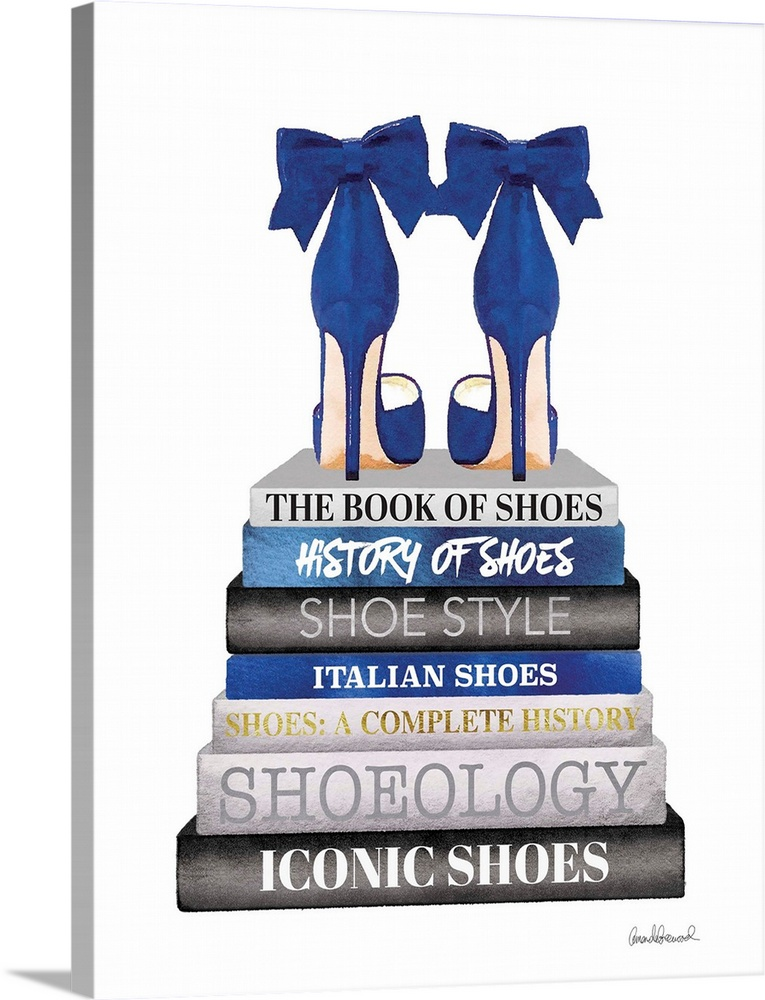 Large Solid-Faced Canvas Print Wall Art Print 18 x 24 entitled Navy Bookstack Shoe Solid-Faced Canvas Print entitled Navy Bookstack Shoe.  Shoes sit atop a stack of designer books.  Multiple sizes available.  Primary colors within this image include Black, Gray, White, Muted Blue.  Made in the USA.  All products come with a 365 day workmanship guarantee.  Inks used are latex-based and designed to last.  Canvas depth is 1.25 and includes a finished backing with pre-installed hanging hardware.  Archival inks prevent fading and preserve as much fine detail as possible with no over-saturation or color shifting.